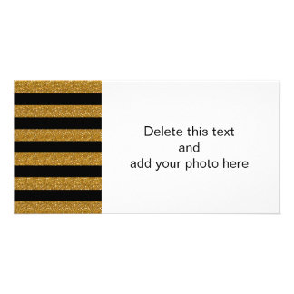 Glamor Black Stripes with Gold Glitter Printed Personalised Photo Card