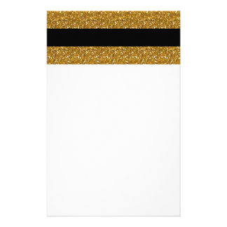 Glamor Black Stripes with Gold Glitter Printed Stationery