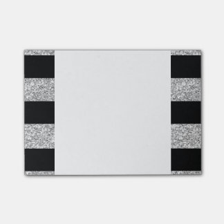 Glamor Black Stripes with Silver Glitter Printed Post-it® Notes