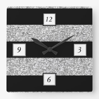 Glamor Black Stripes with Silver Glitter Printed Square Wall Clock