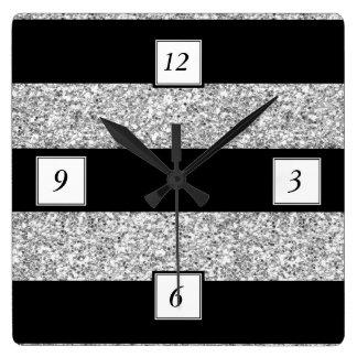 Glamor Black Stripes with Silver Glitter Printed Wallclock