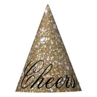 Glamor Girly Chic Bokeh lights gold glitter Party Hat