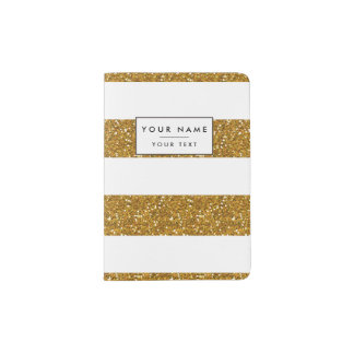 Glamor White Stripes with Gold Glitter Printed Passport Holder