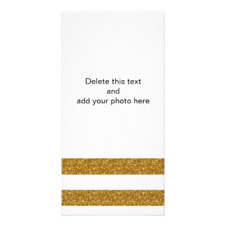 Glamor White Stripes with Gold Glitter Printed Photo Greeting Card