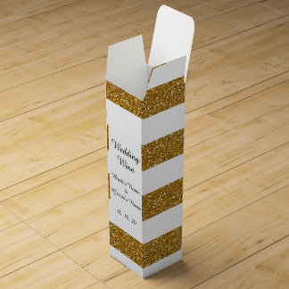 Glamor White Stripes with Gold Glitter Printed Wine Box