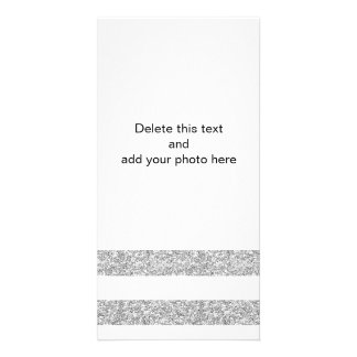 Glamor White Stripes with Silver Glitter Printed Personalized Photo Card