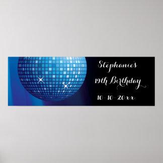 Glamorous 19th Birthday Blue Party Disco Ball Poster