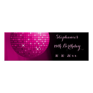 Glamorous 19th Birthday Hot Pink Party Disco Ball Poster