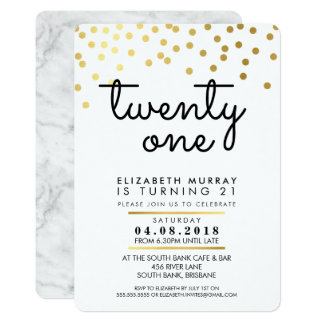 GLAMOROUS 21st birthday party INVITE gold confetti