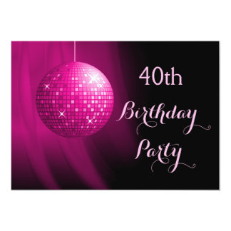 Glamorous 40th Birthday Hot Pink Party Disco Ball Card