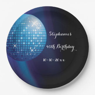 Glamorous 45th Birthday Blue Party Disco Ball 9 Inch Paper Plate