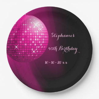 Glamorous 45th Birthday Hot Pink Party Disco Ball 9 Inch Paper Plate