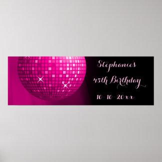 Glamorous 45th Birthday Hot Pink Party Disco Ball Print