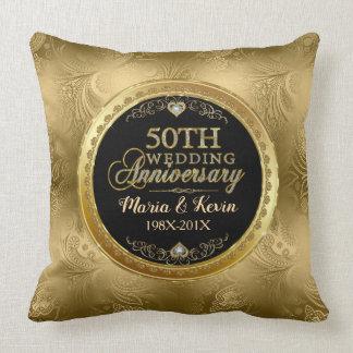 Glamorous 50th Gold Wedding Template Cushion