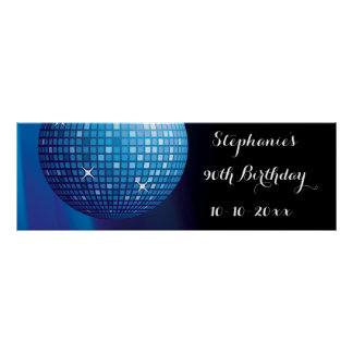 Glamorous 90th Birthday Blue Party Disco Ball Posters