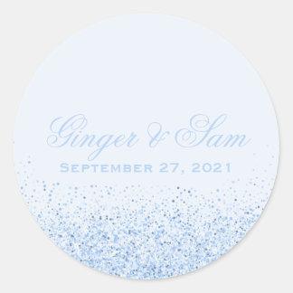 Glamorous Baby Blue Glitter Wedding Stickers