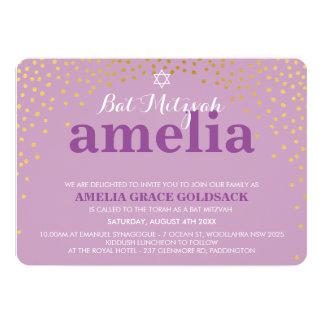 GLAMOROUS BAT MITZVAH rustic gold confetti purple 13 Cm X 18 Cm Invitation Card