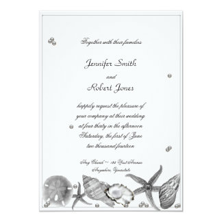 "Glamorous Beach in Silver Invitation 5"" X 7"" Invitation Card"