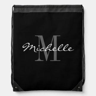Glamorous black and white monogram drawstring bag