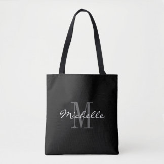 Glamorous black and white monogram tote bag