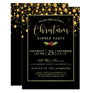 Glamorous Black & Gold Bubbles Christmas Dinner Card