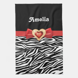 Glamorous Black white zebra print, red bow & jewel Tea Towel