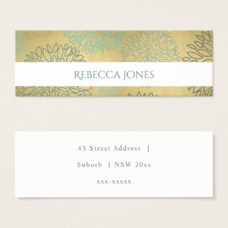 GLAMOROUS BLUE & GOLD DAHLIA MONOGRAM ADDRESS MINI BUSINESS CARD