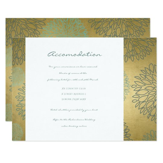 GLAMOROUS BLUE & GOLD DAHLIA PATTERN ACCOMODATION CARD