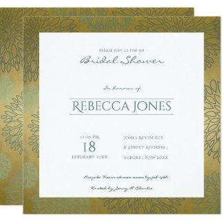 GLAMOROUS BLUE & GOLD DAHLIA PATTERN Bridal Shower Card