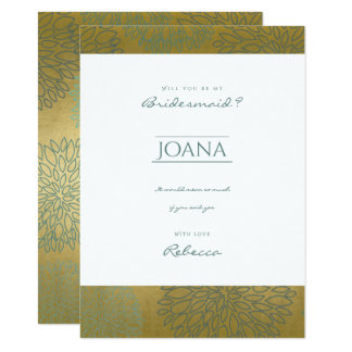 GLAMOROUS BLUE & GOLD DAHLIA PATTERN Bridemaid Card