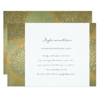 GLAMOROUS BLUE & GOLD DAHLIA PATTERN INFORMATION CARD