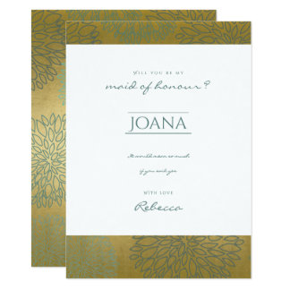 GLAMOROUS BLUE GOLD DAHLIA PATTERN Maid of honour Card