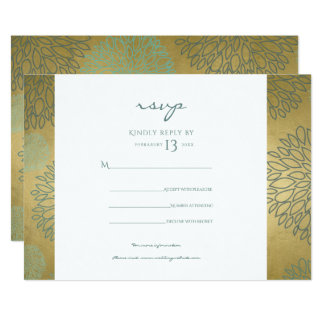 GLAMOROUS BLUE GOLD DAHLIA PATTERN RSVP CARD