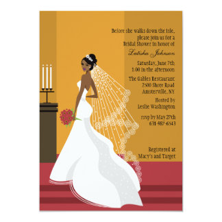 Glamorous Bride African-American Bridal Shower Inv 5x7 Paper Invitation Card