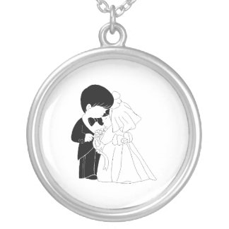 glamorous Bride and Groom Personalized Necklace