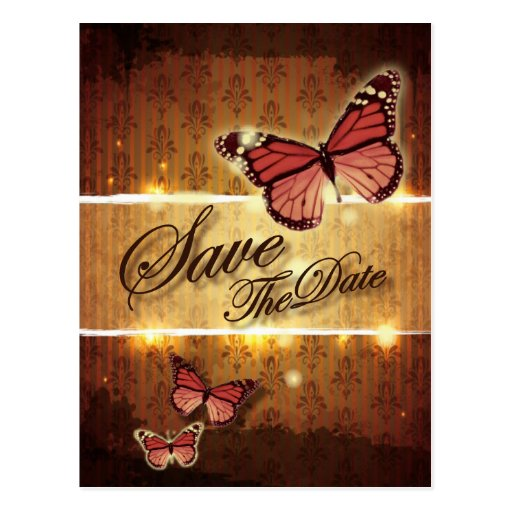 glamorous Butterfly Wedding SavetheDate Postcard