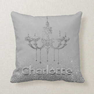 Glamorous Chandelier Gray Silver Glitter Name Cushion