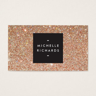 Glamorous Copper Glitter Modern Beauty Business Card