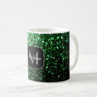 Glamorous Dark Green glitter sparkles Monogram Coffee Mug