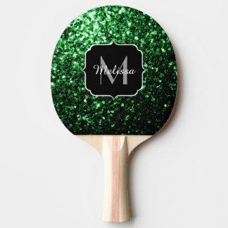 Glamorous Dark Green glitter sparkles Monogram Ping Pong Paddle