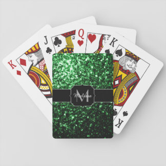 Glamorous Dark Green glitter sparkles Monogram Playing Cards
