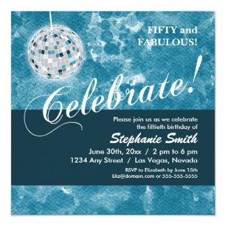Glamorous Disco Ball 50th Birthday Party 13 Cm X 13 Cm Square Invitation Card