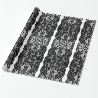 Glamorous Elegant Black Lace Stripes Wrapping Paper
