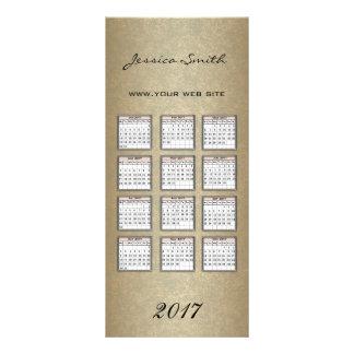 Glamorous elegant faux gold yearly calendar 2017 rack card design