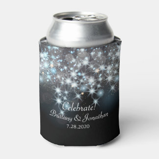 Glamorous Elegant Wedding Glitter Sparkle Lights Can Cooler