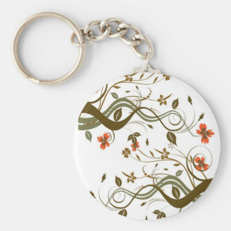 Glamorous fall flowers basic round button key ring