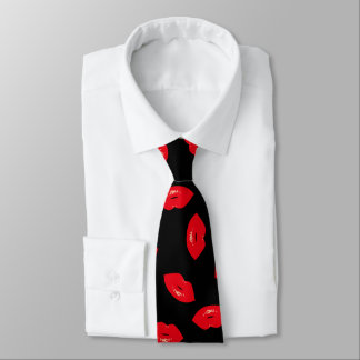 Glamorous Fashion Red Lips Pattern Tie