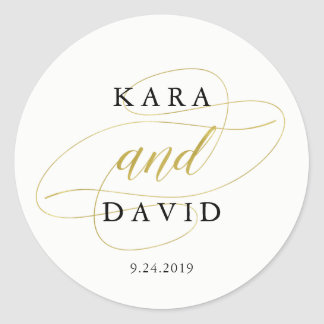 Glamorous Faux Gold Classic Wedding Classic Round Sticker