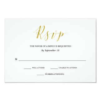Glamorous Faux Gold Classic Wedding RSVP Card