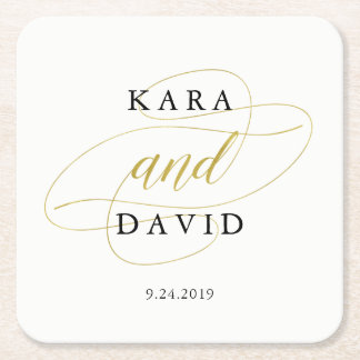 Glamorous Faux Gold Classic Wedding Square Paper Coaster